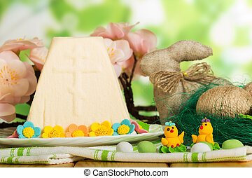 Easter cheese dessert, eggs, Bunny, toy chickens, candy on...