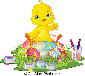 Easter chick - Cute newborn chick sitting on Easter eggs