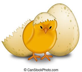 Easter Chick Hatching with Eggs