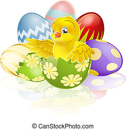 Easter chick in egg - An illustration of a cartoon yellow...