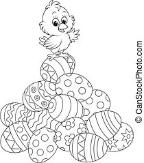 Little chick on top of a pile of painted Easter eggs, black and white outline illustration