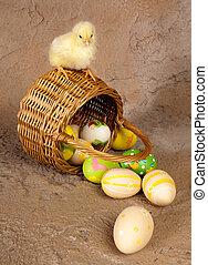 Easter chick on wicker basket