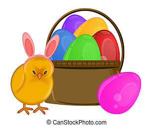 Easter Chick with Bunny Ears Headband and Basket