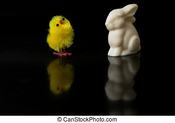 Easter chicken decoration and easter bunny