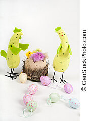 Easter chicken family with tulips and eggs