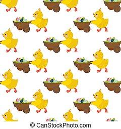 Easter chicken seamless pattern