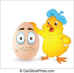 Easter Chicken with Cartoon Egg