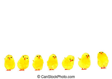 Easter chicken - Yellow easter chicken toys on a white...