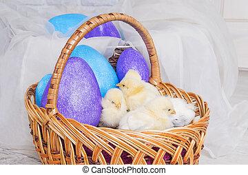 Easter chickens in a wicker basket