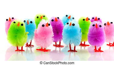 Easter chicks - a row of colorful little easter chicks