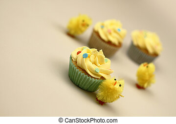 easter chicks and cakes