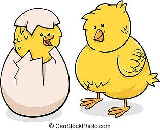 easter chicks cartoon illustration - Cartoon Illustration of...
