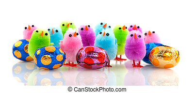 Easter chicks with eggs