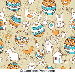 Easter Child Scribbles Seamless Background - Seamless...