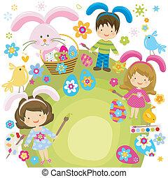 easter children - children painting the easter eggs