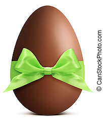 Easter chocolate egg with green bow and ribbon