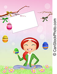 Easter chocolate eggs decoration - illustration of Easter...
