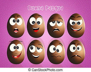 Easter chocolate eggs faces - illustration of Easter...