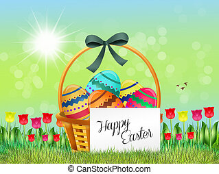 Easter chocolate eggs in the basket - illustration of Easter...