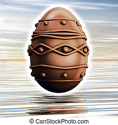 Easter chocolate eggs - Rendering 3D, easter chocolate eggs