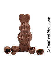 easter chocolate rabbit shape with cracked chocolate egg shape