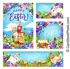 Easter Christian religion eggs and greetings