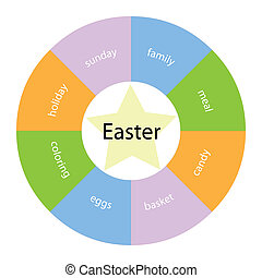 Easter circular concept with colors and star