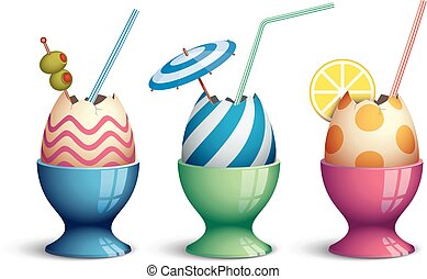 Easter cocktails - Three eggcups with eggs and drink straws....