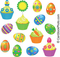 Easter collection - Set of colourful Easter eggs and...