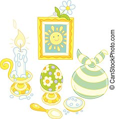 Easter collection with a smiling sun - Vector illustration...