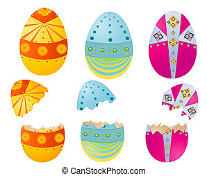 easter colored eggs - Easter colored eggs isolated- yellow,...