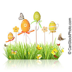 Easter colored eggs in grass, isolated on white background