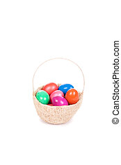 Easter colored eggs in the basket