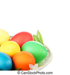 Easter colored eggs in the basket - Easter colored eggs in...
