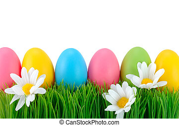 Easter colored eggs on the grass.