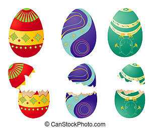 easter colored eggs - Easter colored eggs isolated- red,blue...