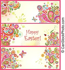 Easter colorful banners