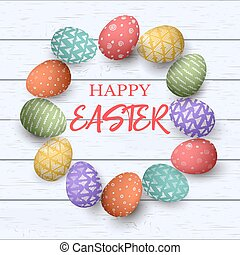 Easter colorful eggs with different simple ornaments in circle frame. white wooden background.