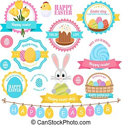 Easter Colorful Labels Set