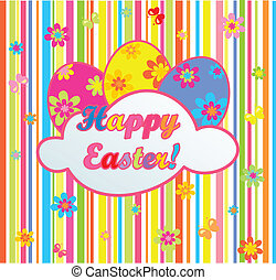 Easter colorful striped card