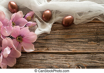 Easter composition on a wood background. Egg shell. Easter concept