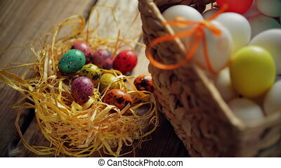 Easter composition from eggs in the basket