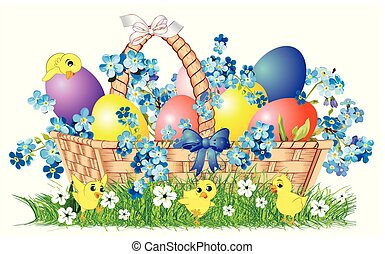 Easter composition with a basket,