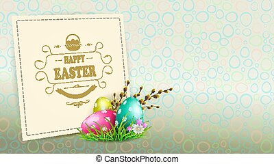 Easter composition with a silhouette of eggs, a willow branch with buds and a square bright frame,