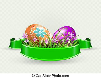 Easter composition with eggs, green ribbon and grass with flowers,