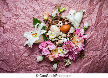 Easter composition with festive flowers decoration and...