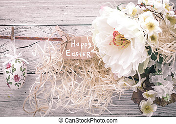 Easter composition with flowers