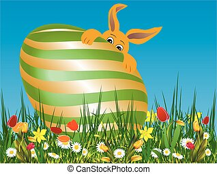 Easter composition with the hare,