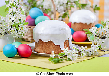 Easter concept - cake, eggs and cherry blossoms