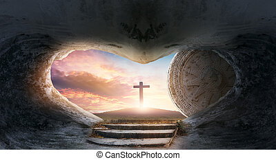 Easter concept: Empty Tomb Of Jesus Christ At Sunrise With ...